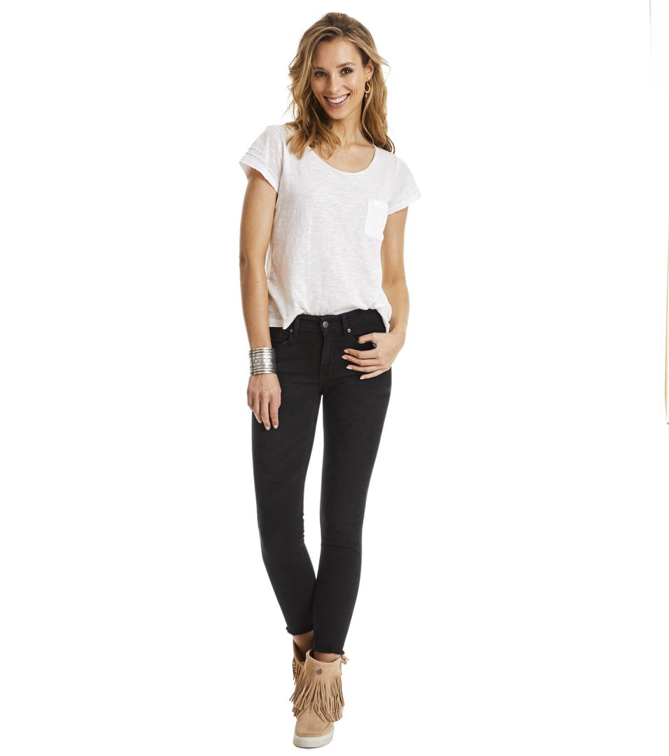 Stretch Black 7/8-Jeans