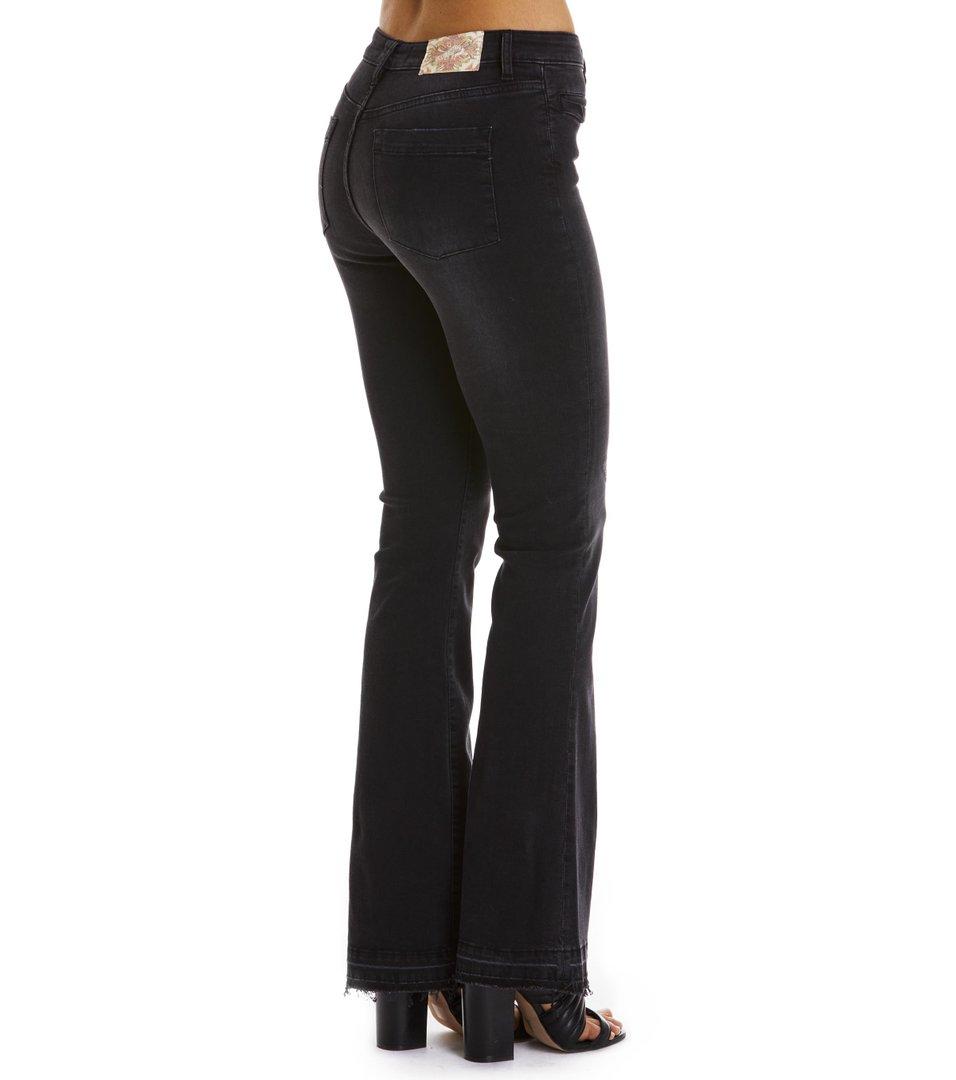 janis black stretch flare jean